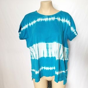 Chaps Tie Dye Blue and White Shirt Size Large